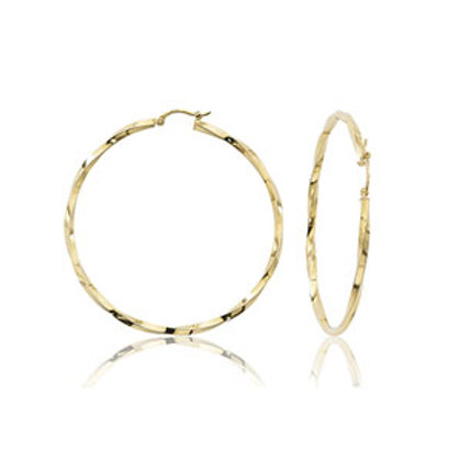 14k Yellow Gold Twisted Hoop Earring