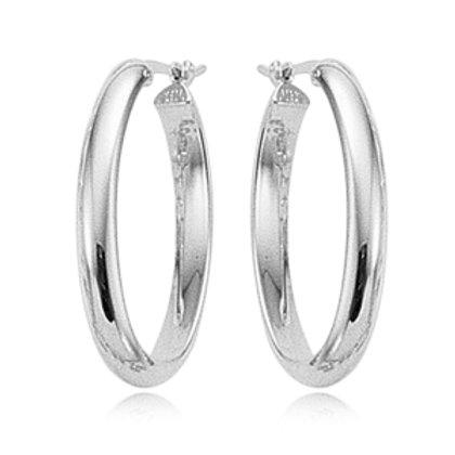 Sterling Silver Oval Tube Earrings