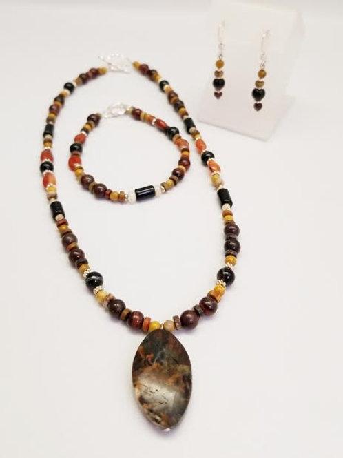 Sterling Silver Custom Designed Stone & Bead Necklace, Bracelet & Earrings