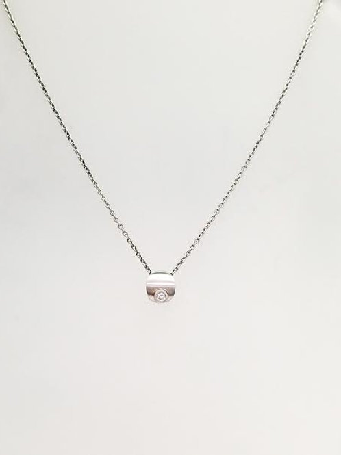 "Sterling Silver & Diamond ""Tiffany"" Pendant with Silver Chain"