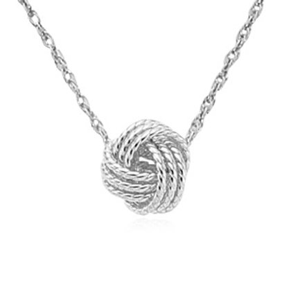 Sterling Silver Love Knot Rope Pendant / Necklace  with Silver Chain