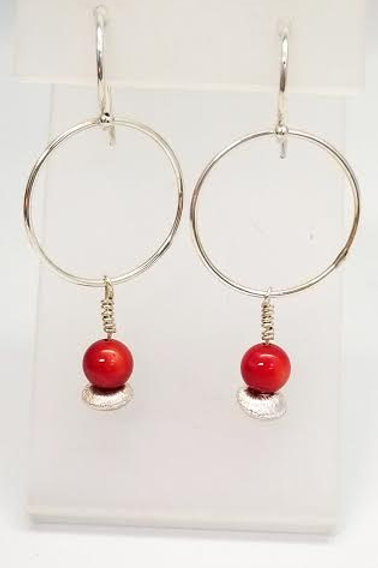 Sterling Silver & Coral Custom Designed Earrings