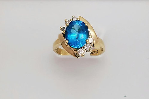 14k Yellow Gold, Blue Topaz & Diamond Ring
