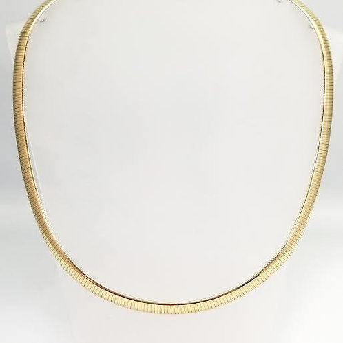 14k Yellow Gold Curved Omega Necklace