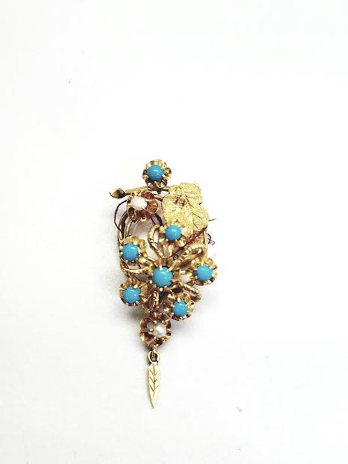 14k Yellow Gold, Turquoise & Fresh Water Pearl Brooch/Pin