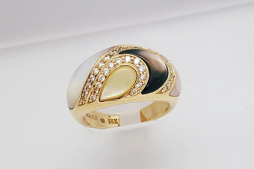 14k Kabana Yellow Gold, Mother-of-Pearl & Diamond Designer Ring