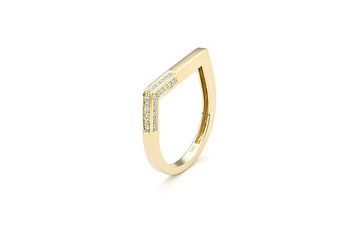 14k Yellow Gold & Diamond Stack Ring