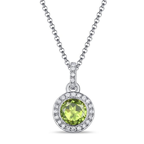 14k White Gold, Peridot & Diamond Pendant with Chain