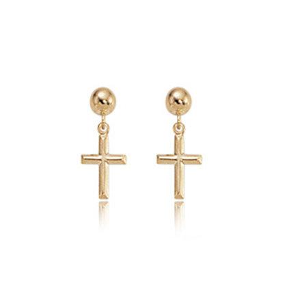 14k Yellow Gold Small Cross Earrings