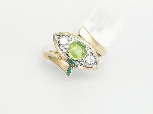 14k Yellow & White Gold, Peridot & Diamond Ring