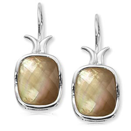Sterling Silver & Smokey  Mother-of-Pearl Earrings
