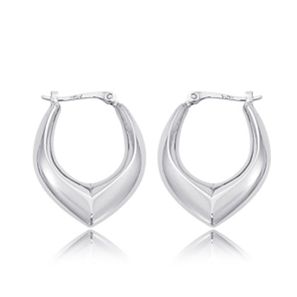 Sterling Silver V Shaped Hoop Earrings