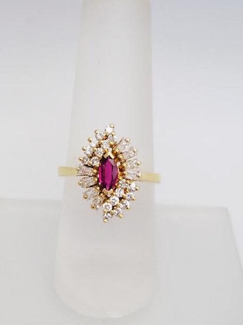 14k Yellow Gold, Ruby & Diamond Ring