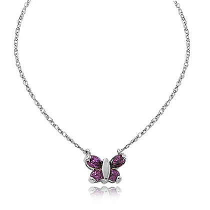 Sterling Silver Amethyst Butterfly Pendant/ Necklace