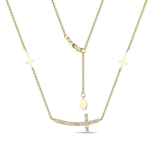 14k Yellow Gold & Diamond Cross Necklace