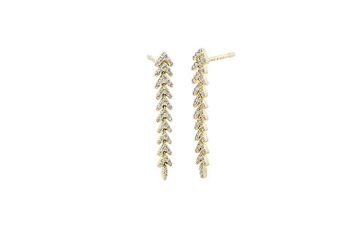 14k Yellow Gold & Diamond Dangle Earrings