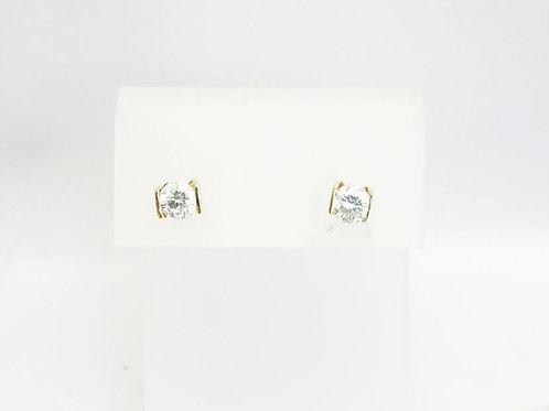 14k Yellow Gold & Round Diamond Earrings  .80ct