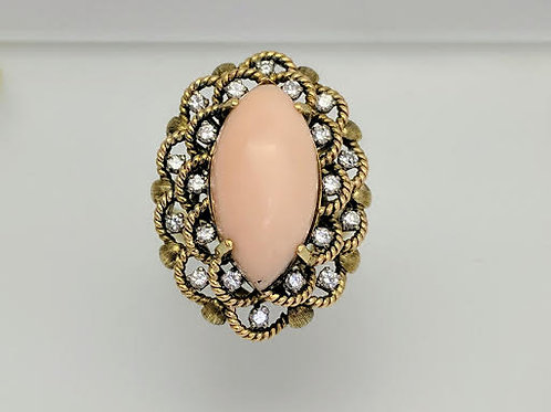 14k Yellow Gold Coral & Diamond Ring
