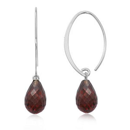 Sterling Silver & Simple Sweep Faceted Garnet Earrings