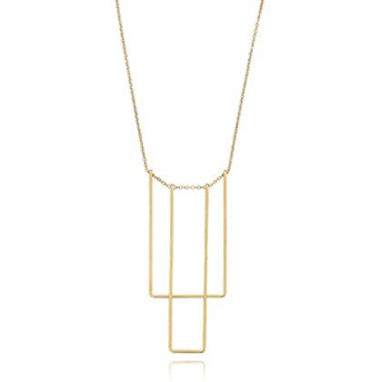 !4k Yellow Gold Drop Square Simple Bib Necklce