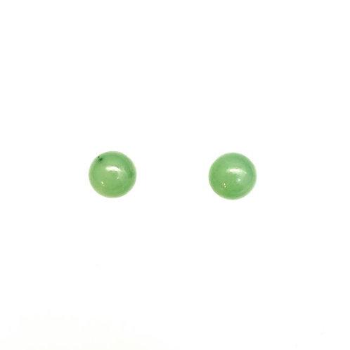 Sterling Silver & Jade Jadite Stud Earrings