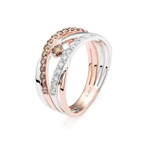14k Rose Gold & Brown & White Diamond Ring