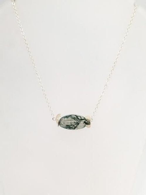 Sterling Silver & Moss Agate Custom Designed Necklace