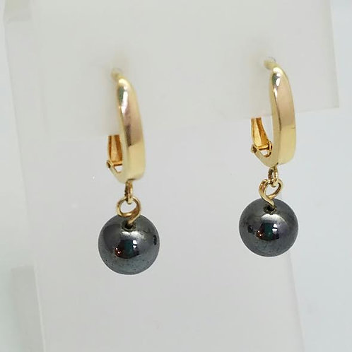 14k Yellow Gold & Hematite Earrings