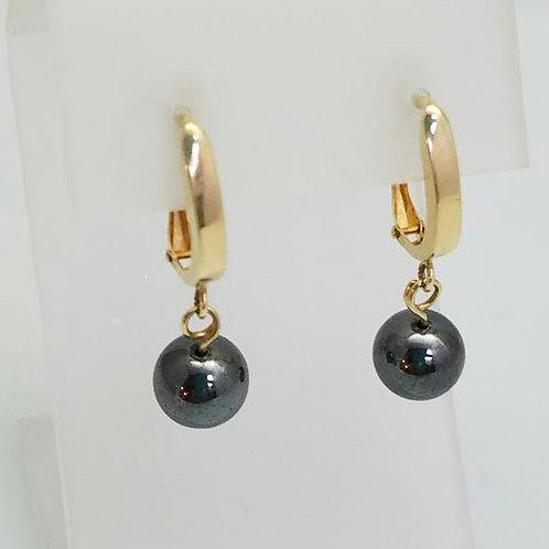 14k Yellow Gold & Hematite Earrings