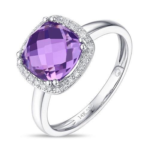 14k White Gold, Amethyst & Diamond Ring