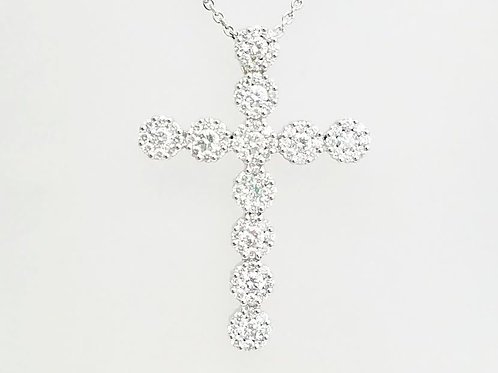 18k White Gold & Diamond Cross Pendant