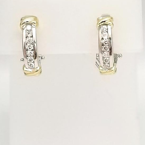 14k Yellow & 18K Yellow & White Gold & Diamond Earrings