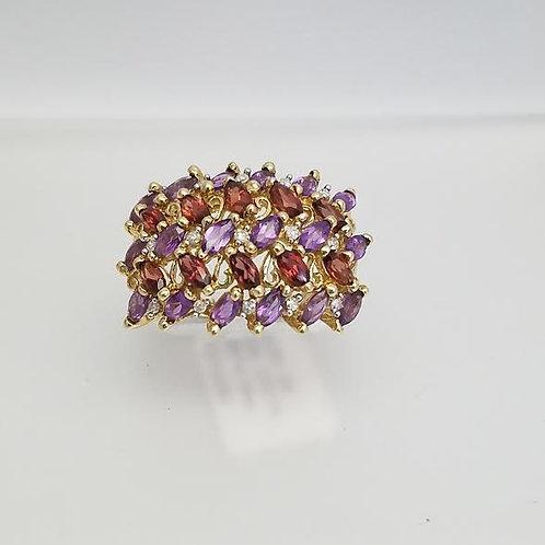 10k Yellow Gold, Amethyst, Garnet & Diamond Ring