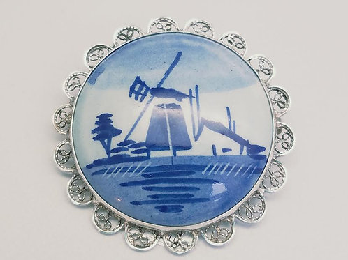 Sterling Silver Porcelain Brooch/Pin
