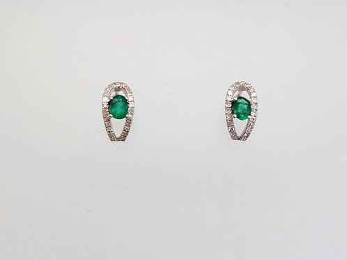 14k White Gold, Emerald & Diamond Earrings