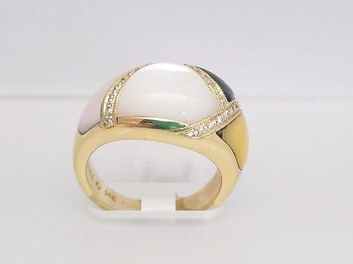 14k Kabana Yellow Gold, Mother-of-Pearl & Diamond Designer Ring