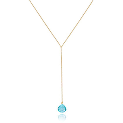 14k Yellow Gold & Blue Topaz Trapeze Drop Pendant
