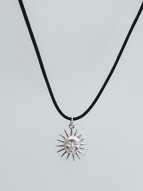 Sterling Silver Sun Pendant on Black Cord