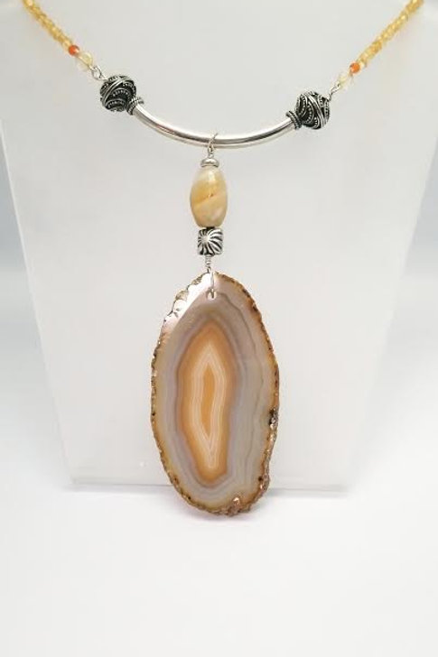 Sterling Silver, Agate & Citrine Custom Designed Necklace