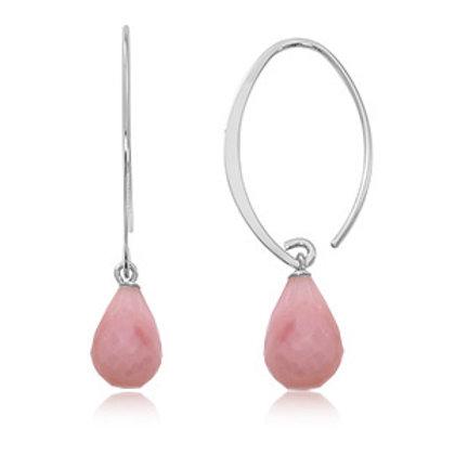 Sterling Silver & Pink Opal Sweep Earrings