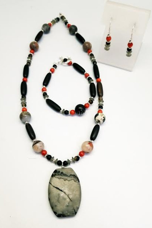Sterling Silver Custom Designed Multi Stone Bead Necklace, Bracelet&  Earrings