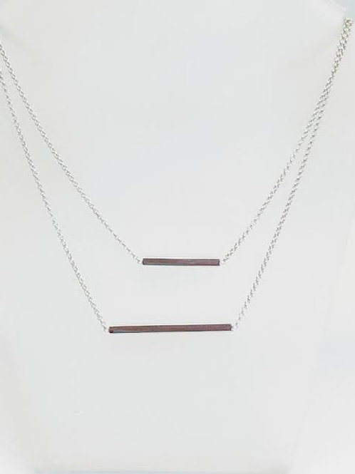 Sterling Silver Layered Bar Necklace