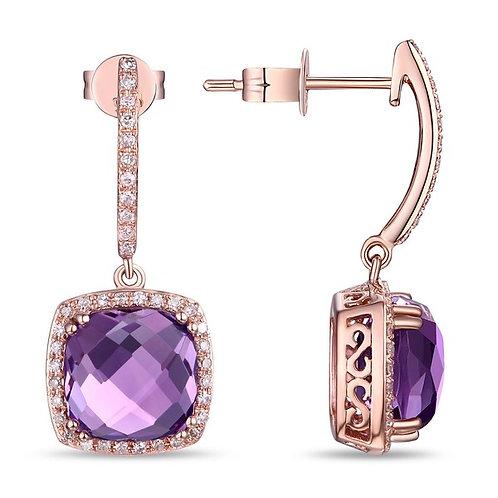 14k White Gold, Amethyst & Diamond Earrings