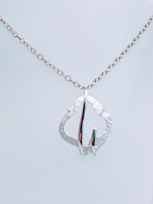 Sterling Silver Freeform Pendant/Necklace with Chain