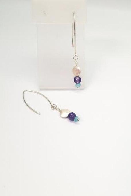 Sterling Silver Aquamarine, Zircon & Iolite Custom Designed Dangle Earrings