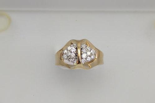14k Yellow & White Gold & Diamond Ring