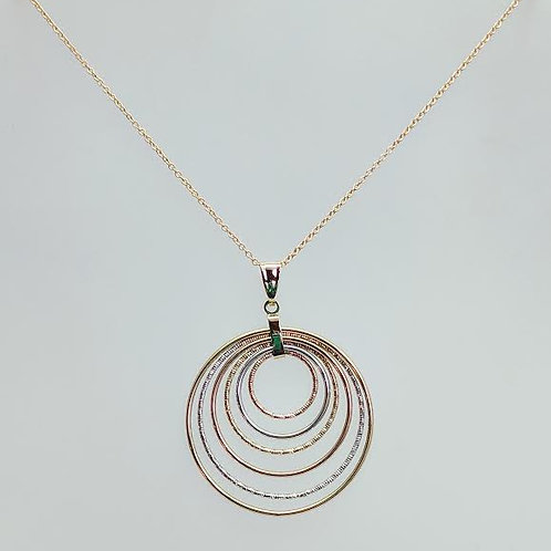 14k Yellow & White Gold Tri-Circle Pendent/ Necklace
