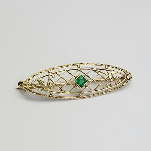 14k Yellow Gold & Synthetic Green Stone Brooch/Pin