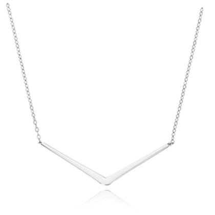 "Sterling Silver ""V"" Bar Necklace (Chain included)"