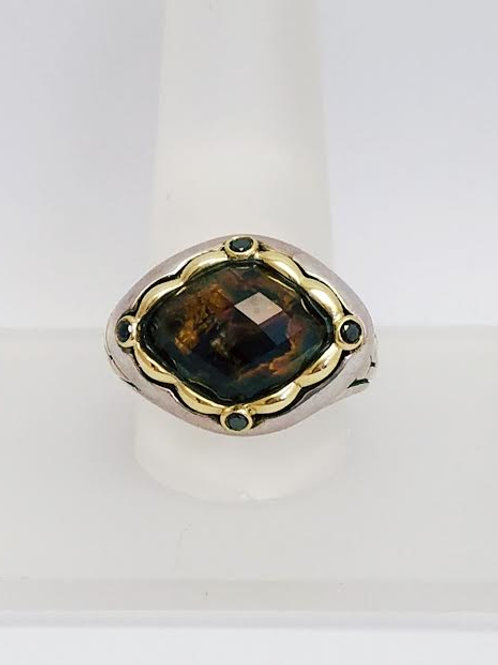 18k Yellow Gold & Sterling Silver, Pietersite & Diamond Designer Ring